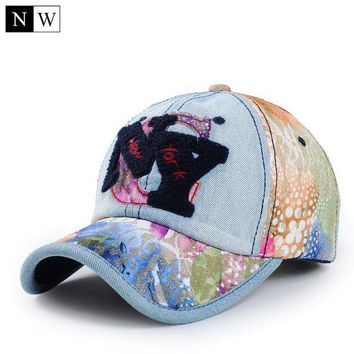 DCCKWJ7 2017 Fashion Women Baseball Cap Brand NY Letter Casquette NY Denim Lace Design Bones Snapback NY Hats For Women Adjustable Size
