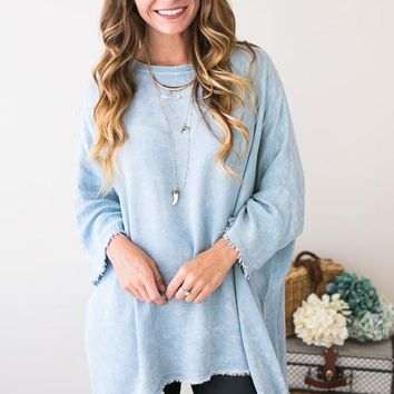 Happy Girl Oil Wash Distressed Tunic in Blue
