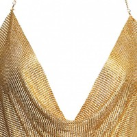 Draped Metal Crop Top For Party
