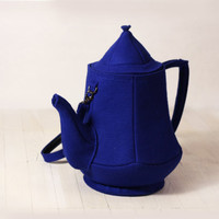 Blue Felt Teapot Bag by krukrustudio on Etsy