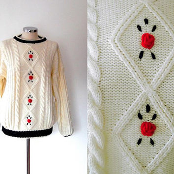 Cream rose sweater |  embroidered | black trim | rib knit | vintage | retro | chunky sweater |  diamond knit | medium | cable knit sweater