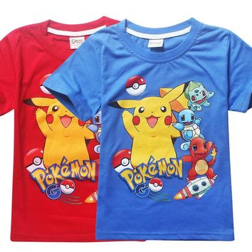 Summer kids  go tshirt children  t shirt for girl tops and blouse boy clothes tshirt cartoon 3-9Years baby clothesKawaii Pokemon go  AT_89_9