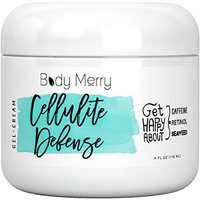 Body Merry Cellulite Cream with Caffeine + Retinol + Seaweed - Firming & Toning Gel that can be Used Solo or as the Perfect Companion to your Massager, Brush, Scrub, Roller or other Remover Treatment