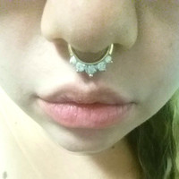 14 Gauge Gold Septum Ring Daith Hoop Clicker Bull Ring Nose Piercing Marquis Cut Crystals