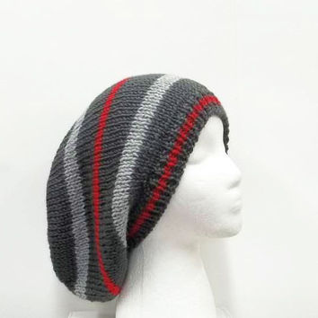 Slouchy Hat | Knitted hat |  Red Gray Hat | Handmade hat