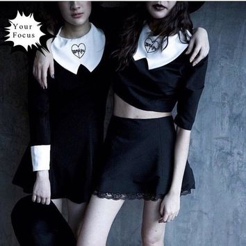 2018 punk harajuku vintage lolita kawaii gothic preppy style velvet dress long-sleeve special collar love embroidery black dress