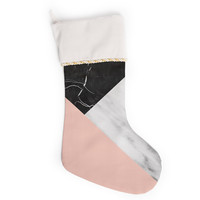 "Cafelab ""Marble Collage With Pale Pink ""  Gray Pink Christmas Stocking"