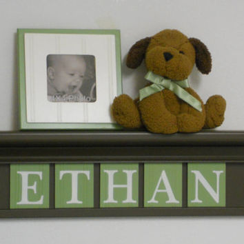 "Boy Wooden Letters Nursery Decor Names in Wood ETHAN on 24"" Chocolate Brown Shelf with 5 Light Green Wall Letters"