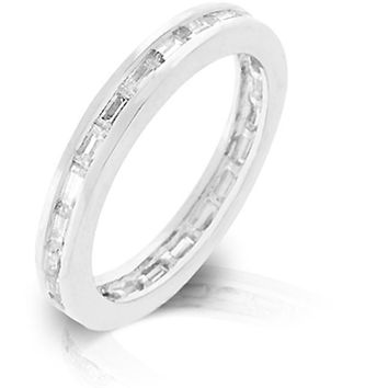 Kate Bissett R08022R-C01-05 Genuine Rhodium Plated Stacker Eternity Ring featuring Channel Set Clear CZ Baguettes Embeded in the