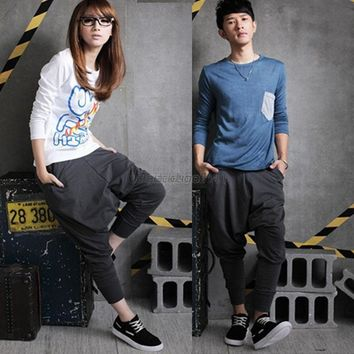 Casual Men Women Hip Hop Harem Pants Drop Crotch Sweatpants Trousers Slacks
