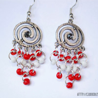 Double spiral earrings - Antique pewter with silver finish  with red and white glass beads- Lightweight earrings-Handmade earrings