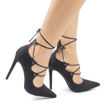 SammyOJ Black F-Suede by Olivia Jaymes, Black Suede Pointed Toe Corset Lace Leg Wrap Stiletto Heel Pumps