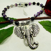 "Unusual Purple Stripped Onyx Elephant Necklace Lenth 22"".Gifts Under 10,20,30,Silver Necklace,Valentine Gift"