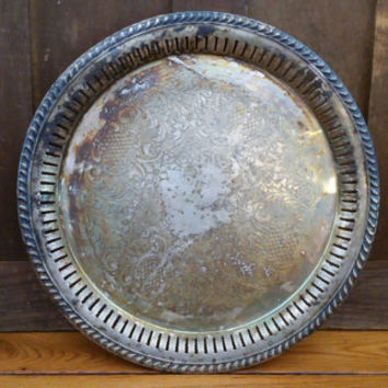 Vintage Round Ornate W & S Blackinton Silver Plated Tray Perfect for Decor and Entertaining