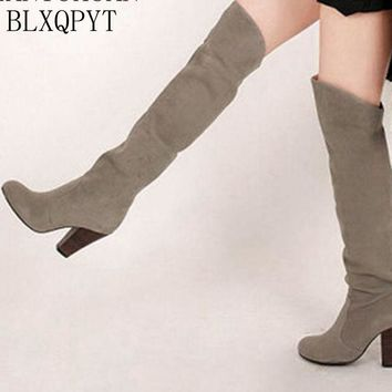 BLXQPYT 2017 Winter Autumn Boots Big Size 34-43 Over The Knee Boots Women Sexy High Heels Long  Round Toe Platform Knight 818