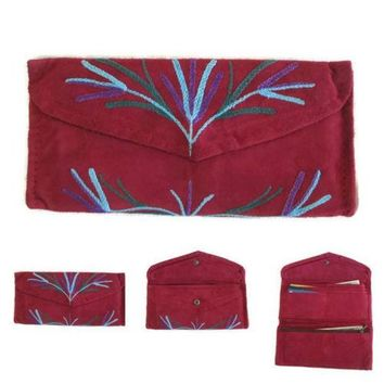 Women Red Envelope Leather Wallet With Card Holder Embroidered Purse HANDMADE