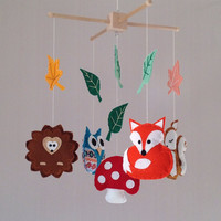 Baby Mobile - Crib Mobile - Cot Mobile - woodland baby mobile - Nursery Decor - Fox, owl, squirrel, hedgehog and toadstool - Owl Mobile