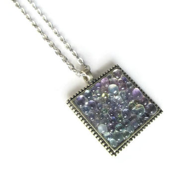 Glass Pebble Pendant necklace with amethyst and mint tones, hand made modern mosaic jewelry with antique silver tone finish