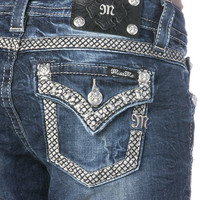 Miss Me Metallic Gridlock Border Relaxed Skinny Jeans