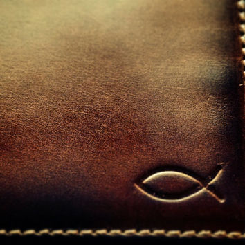 Leather Wallet - Men's Wallet - CHRISTIAN Fish Embossed Leather Bifold Wallet