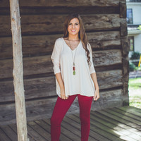 3/4 V-Neck Piko in Cream