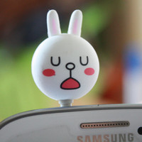 SALE30-70%OFF: Line Rabbit bunny Anti Dust Plug 3.5mm Phone Accessory Charm Headphone Jack Earphone Cap iPhone 4 4S iPad HTC Samsung