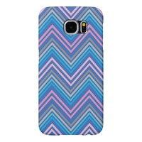 Periwinkle Blue Pink and Gray Chevron Pattern Samsung Galaxy S6 Cases