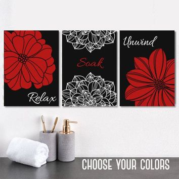Red Black Flower BATHROOM DECOR, Black Red Bathroom Wall Art Canvas or Print, Flower Bathroom Pictures, Relax Soak Unwind Quotes, Set of 3