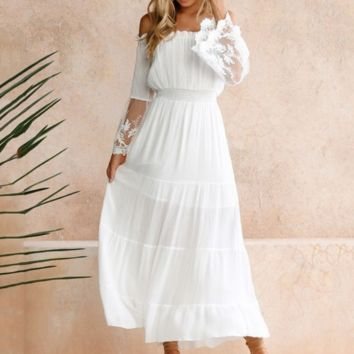 Women's one-piece collar lace stitching dress