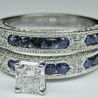 Engagement Ring - Radiant Cut Diamond Vintage Engagement Ring  Blue-Sapphire Accents & Matching Wedding Band - ES739RABS