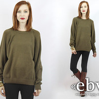 Vintage 80s Army Green Oversized Sweater Oversized Knit S M L Vintage Sweater Vintage Pullover Vintage Jumper Green Sweater Men's Sweater