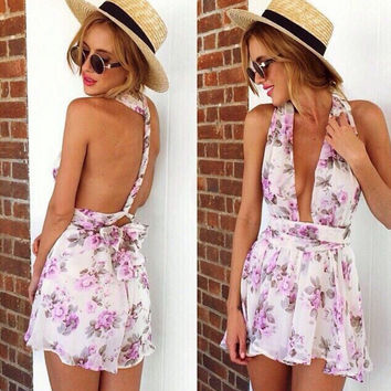 Backless Off Shoulder Romper [5067574660]