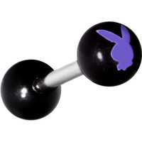 Acrylic Black Purple White Playboy Rabbit Head Barbell Tongue Ring