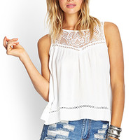 FOREVER 21 Crocheted Gauze Top White
