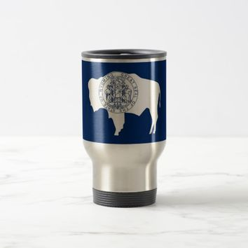 Travel Mug with Flag of Wyoming State - USA