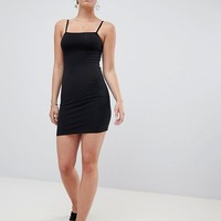 Miss Selfridge bodycon dress with square neck in black at asos.com
