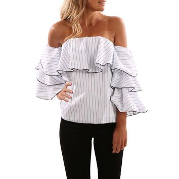 fashion ruffles striped white blouse blusas mujer  off shoulder long sleeve top shirt blusas de la femenina