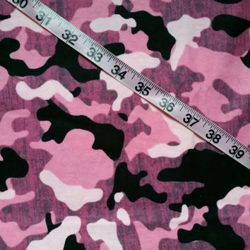 Flannel fabric with pink camo camouflage cotton quilt print quilting sewing material to sew by the yard Bty crafting