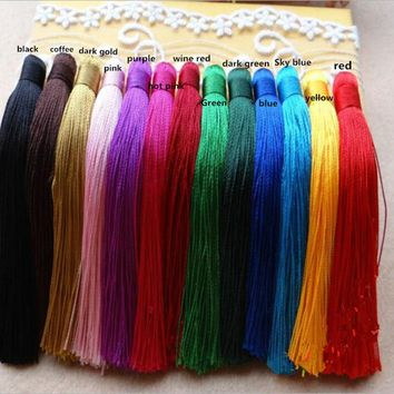 10pc/lot 120mm Silk Rayon Cotton Tassels Earrings Bracelet Necklace Accessories Chinese Knot Satin Tassels DIY Jewelry Making Z8