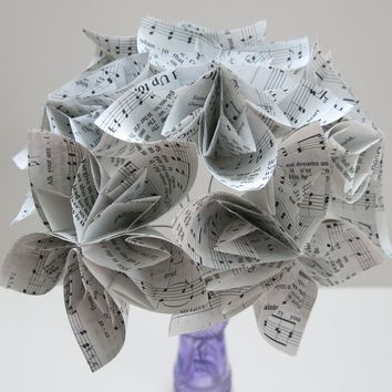 "6 Hymnal Kusudama Flowers, 4"" Origami Flowers on Stems, Christian Song Book Pages, Popular Floral Bouquet"