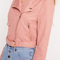 Missguided - Faux Suede Biker Jacket Pink