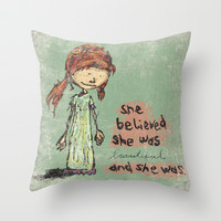She Believed She Was Beautiful And She Was Throw Pillow by Even In Death