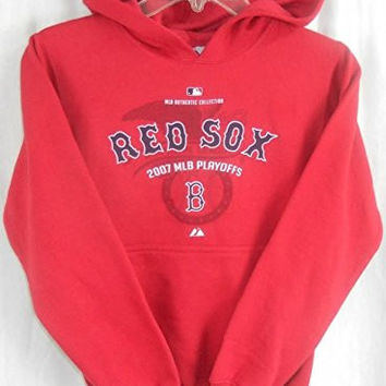 Boston Red Sox Youth 2007 Playoffs Authentic Pull Over Hoodie Sweatshirt Small