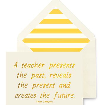 A Teacher Presents The Past Greeting Card, Single Folded Card or Boxed Set of 8