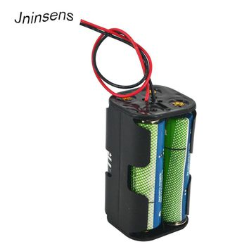 5 pcs/lot Battery Holder 6V for 4 x AA Batteries Black Plastic Storage Box Case Dual Layers With Wire Lead