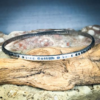 Thin Hammered Sterling Silver Bracelet (Oxidized Finish)