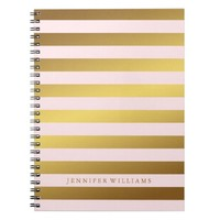 Modern Faux Gold Foil and Pink Stripes Notebook