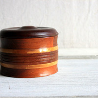 vintage round wooden box container with lid