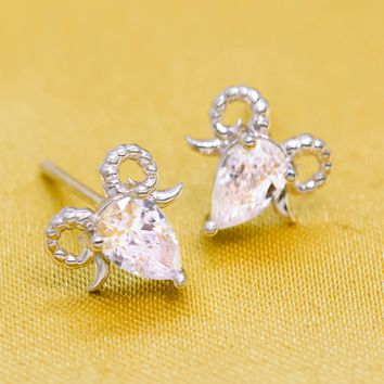 Lovely zircon goat head 925 Sterling Silver earrings, a perfect gift