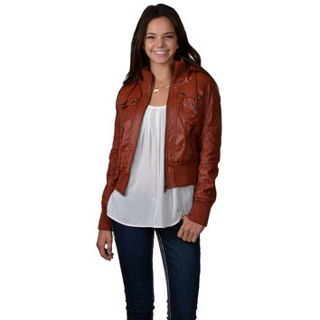 Hailey Jeans Co. Juniors Faux Leather Fur Lined Hooded Jacket | Overstock.com